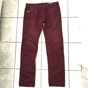 61dc5ff3 Diesel Darron Men's Burgundy Slim Tapered Jeans